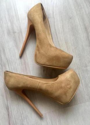 Женские замшевые туфли ботфорты лодочки высокий каблук