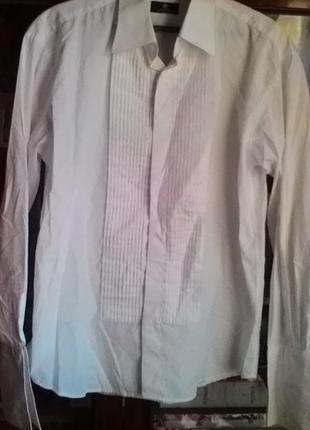 Белоснежная рубашка для торжества на запонках-alexander dobell