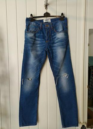 Мужские зауженние джинси с дирками рвание