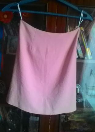 Лёгкая стильная розовая мини юбка пот-32см-румыния