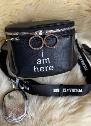 Женская кожаная сумка через плечо polina & eiterou с надписью ...