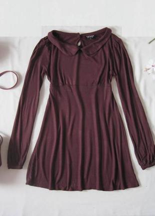Бордовое платье 100 % вискоза юбка солнце с воротником topshop