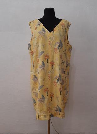 Стильное модное легкое льняное платье большого размера