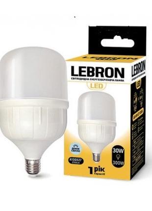 LED лампа LEBRON L-А100, 30W, Е27, 6500K, 2700Lm, угол 240°
