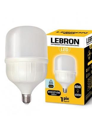 Светодиодная лампа LEBRON L-А118, 40 Вт, Е27-Е40, 6500K, 3200Lm