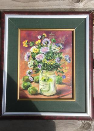 Картина Луговые цветы скабиоза и сливы