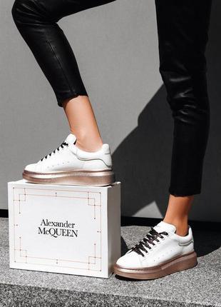 Хитовые кроссовки a.mcqueen натуральная кожа качество люкс
