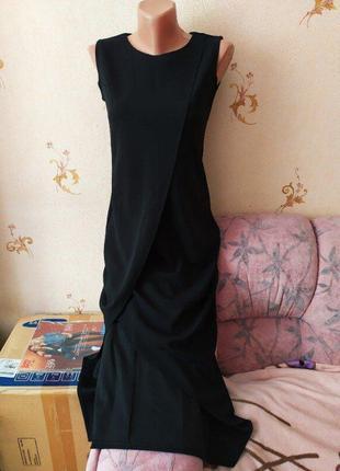 Стильное длинное черное платье