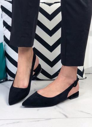 Туфли женские черные замшевые с острым носком
