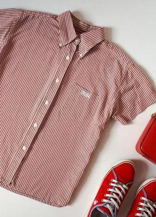 Рубашка в клетку бренд lonsdale с вышитым логотипом тенниска н...