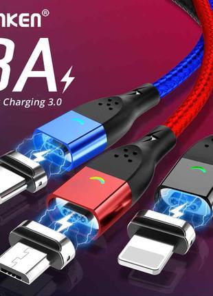 Магнитный кабель MicroUSB Type C Lighting зарядка андроид айфон