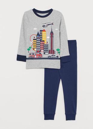 H&m пижама хб для мальчика 2-4 года