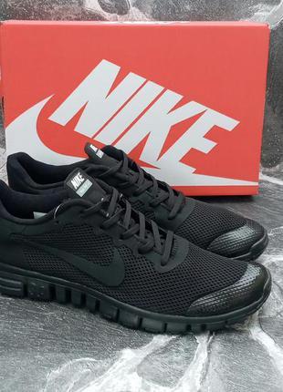 Мужские кроссовки nike free run 3.0 сетка,черные,летние