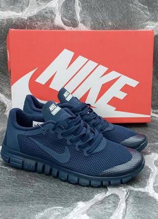 Мужские кроссовки nike free run 3.0 сетка,летние,беговые,синие