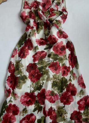 Платье миди 50 размер принт маками новое летнее распродажа