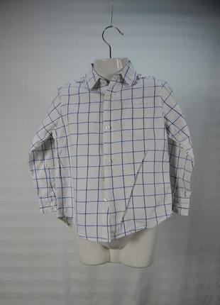 Белая рубашка с длинным рукавом для мальчика 4 лет