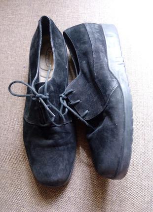 Туфли замшевые женские на шнурках