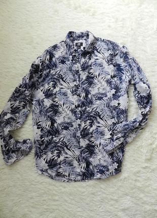 Рубашка в тропический принт 100% хлопок