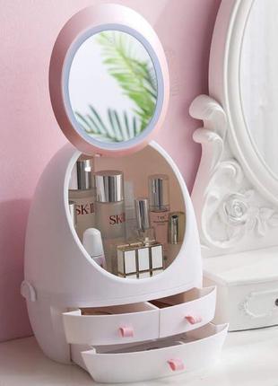 Косметическое настольное зеркало-органайзер MakeBox с подсветкой