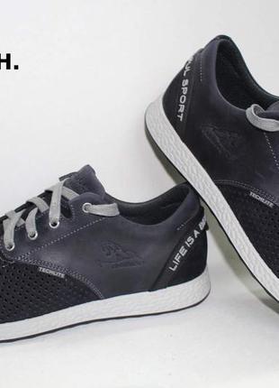 Кожаные спортивные мужские туфли на шнуровке наложенный платеж...