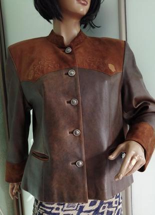 Винтажная кожаная куртка большой размер