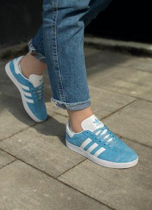 Кроссовки adidas gazelle  кеды голубые