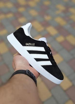 Кроссовки женские adidas gazelle черные с белым 🌶
