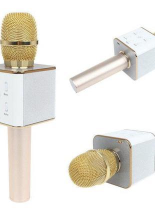 Беспроводной караоке микрофон-колонка Q7 Bluetooth Золотой