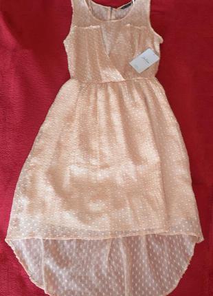 Воздушное пудровое платье zara