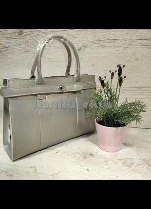 Офисная женская сумка из натуральной кожи 9067 св. серая (перл...