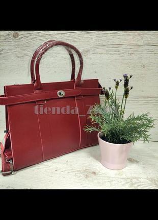 Офисная женская сумка из натуральной кожи 9067 красная