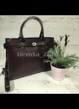 Офисная женская сумка из натуральной кожи 9067 коричневая