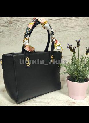 Женская сумка небольшого размера с платком 311 черная