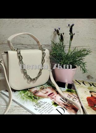 Женская сумка через плечо / клатч с цепочкой 8018 розовый
