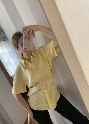 Винтажная рубашка лен tommy hilfiger!