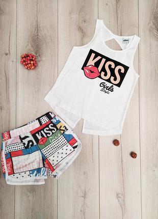 Костюм для девочки летний турция шорты футболка майка
