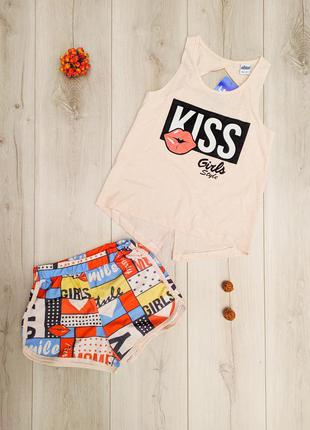 Костюм для девочки шорты футболка майка