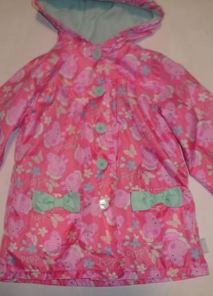 Фирменная куртка плащ на флисе пеппа девочке 4-5 лет