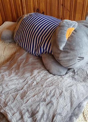 Игрушка подушка с пледом кот в тельняшке