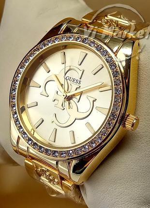 Женские кварцевые наручные часы guess на браслете золотого цвета