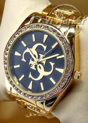 Женские кварцевые наручные часы guess на браслете золотого цве...
