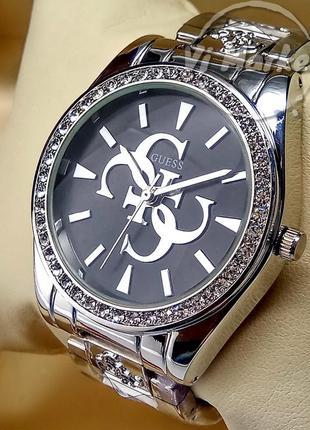Женские кварцевые наручные часы guess на браслете серебреного ...