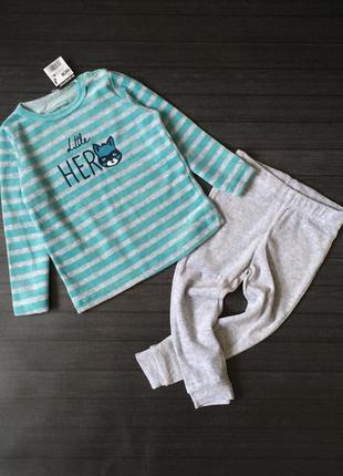 Тёплая велюровая пижама, 2-3 года (98 см)
