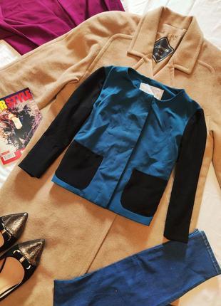 Пиджак бирюзовый с чёрным рукав 3/4 шифоновый с карманами