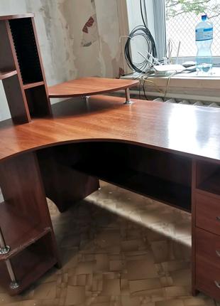 Стол компьютерный письменный офисный с ящиками и полками