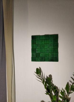 Панно з натурального дерева в смарагдово-зеленому кольорі