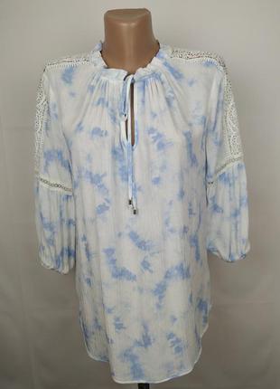 Блуза красивая натурльная с кружевом 100% вискоза f&f uk 12/40/m
