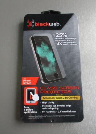 Фирменное Blackweb защитное стекло для iPhone SE 5s 5
