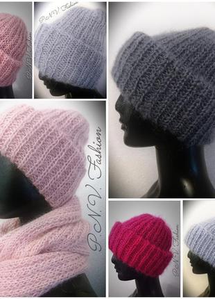 Зимние шапки мохер теплая шапка объемная
