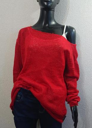 Красный свитер накидка + майка